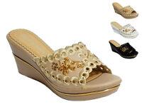 Women's Ladies  Flower Summer Sandals Slip On Mules Wedge Platform Shoes Size