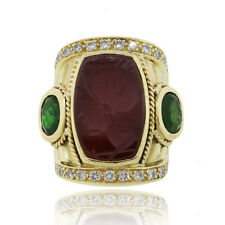 18k Yellow Gold 0.66ctw Diamond and Carnelian Intaglio Ring