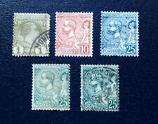 Monaco late 1800's stamps inc mint 10 and 25c green, used 25c green and blue.