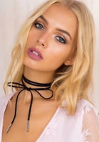 Sexy Black Imitation Leather Choker Bohemia Neck Tie Cord Necklace Jewellery UK