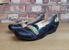 KANGAROOS Wedge Heel Flat Comfort Black Green Womens Shoes Size 6 UK