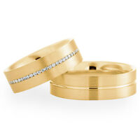9ct Yellow Gold Diamond Set Band His and Hers set of Wedding Rings Satin Finish