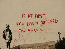 """Banksy If At First You   Pictures 16""""X20"""" Canvas Graffiti Urban Wall Art Prints"""