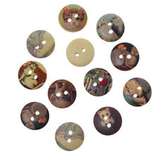 "Lot of 10 CAT DESIGN 2-hole Wooden Buttons 5/8"" (15mm) Scrapbook Doll (64785)"