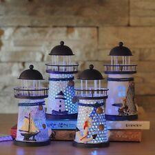 Morden Nautical Lighthouse Table Lamp Sheet Iron RGB LED Light Home Garden Decor