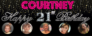 Bling Personalised Birthday Party Banner PINK 18th/21st/30th/40th/50th