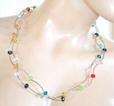 COLLANA LUNGA donna argento girocollo cristalli pietre collier mono filo A70