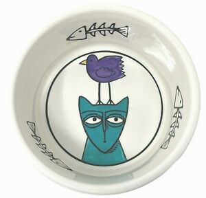 Signature Ursula Dodge JESTER Stoneware Cat Food Dish Water Bowl Kitty Bird