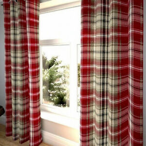 Tartan Plaid Red & Beige -Pair of Curtains -Pencil Pleat Header F/Lined 65x90ins