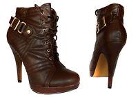 Zapatos mujer botines botas tacones altos Marrón Zapatos de cordón NUEVO A. N66