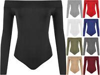 New Womens Plain Off Shoulder Long Sleeve Leotard Ladies Top Bodysuit 8 - 14