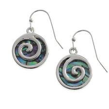 Blue Green Abalone /  Paua Shell Round Spiral Silver Drop Earrings
