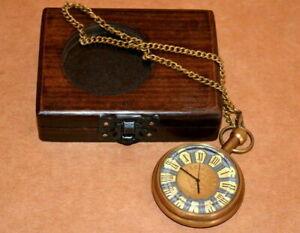 Antique vintage maritime brass pocket watch marine art 1917 & wooden box gift