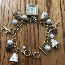 Charm Bracelet Watch By P.O.V. Bells Cherubs Stars Rhinestone Face New Battery