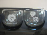 VINTAGE GREEN BAY PACKERS ROLY POLY SMOKY GLASS TUMBLERS LOWBALL COCKTAIL LIQUOR