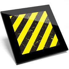 1 x Yellow Safety Warning Stripes Glass Coaster - Kitchen Student Gift #14636