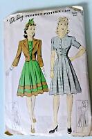 Vintage scarce Du Barry women's WWII era dress sewing pattern, dated 1941!