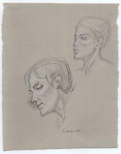 Original Miriam Slater Black Ink & Pastel Women's Portrait Life Drawing Signed