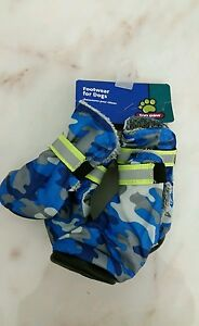 Top Paw Soft Warm Velour Dog Boots Medium Blue, Gray Trim New