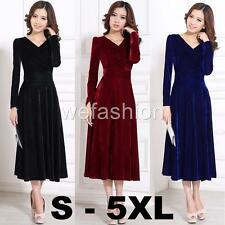 Women Velvet Oversize V Neck Long Sleeves Cocktail Party Evening Prom Gown Dress