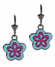 Flower Dangle Enamel Fashion Earring Blue Pink Silver Grace Of New York