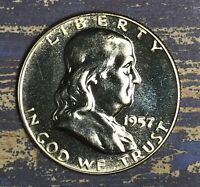 1957 Franklin Silver Half Dollar Proof. Collector Coin for Collection.