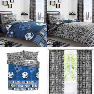 Bedlam Blue Grey Football Sports Goal Reversible Duvet Cover Set Bedding Range