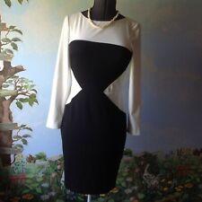 Ralph Lauren Women's Long Sleeve Off White Color-block Sheath Dress Size 8 New