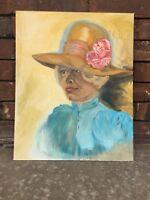 Vtg ORIGINAL Painting Canvas Panel Portrait Southern Woman Lady w Hat Victorian