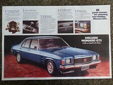 HOLDEN 1974 HJ GTS MONARO SALES  BROCHURE  100% GUARANTEE.