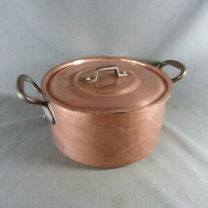 French Vintage Copper Cooking Stock Pot Tin Lined Iron Handle with Lid