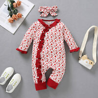 NEW Valentine/'s Day Baby Girls Heart Print Ruffle Romper Jumpsuit /& Headband