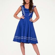 Hearts & Roses of London 'Blue Sailor' Pin-Up Style Dress Sz 6 Beautiful NWT
