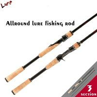 3 Section Carbon Spin Spinning Casting Cast Ultra Light Lure Feeder Fishing Rod