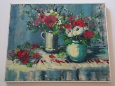 JAMES DELOYE PAINTING OIL FLORAL FLOWERS IMPRESSIONIST STILL LIFE 30 INCH OIL