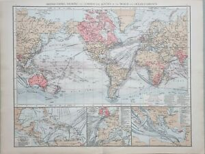 1895 ANTIQUE MAP WORLD SHOWING BRITISH EMPIRE OCEAN CURRENTS STEAMSHIP PORTS