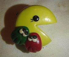 "VINTAGE 1980's  PAC MAN PACMAN PIN  YELLOW, GREEN, RED 1"" by 3/8"""