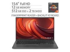 """ASUS VivoBook 15.6"""" NanoEdge Laptop AMD R3 3200U 512GB SSD+2TB SSHD 12GB RAM"""