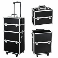 3 in 1 Pro Aluminum Rolling Makeup Case Cosmetic Trolley On Wheels Black