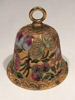 Vintage Cloisonne Gold Tone Brass Bell w/ Floral Design - Painted Enamel inside