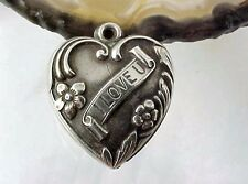 Vintage Sterling Silver - I LOVE YOU BANNER Design -  PUFFY HEART Charm MOTHER