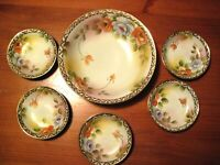 ANTIQUE JAPANESE HAND PAINTED  BERRY BOWL SET NIPPON ERA C 1891-1920 ASIAN DECOR