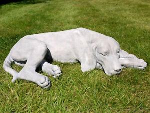 Laying Labrador Garden Ornament 57cm Lawn Grey Dog Statue Art Outdoor Sculpture