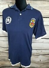 Boys Tommy Hilfiger Size XL 16-18 Collared Shirt With Patches Dark Blue Button