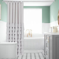 """HIG Farmhouse Style White Ruffle Shower Curtain 72"""" in Long & Wide (Arya)"""
