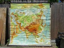 Vintage desplegable rodar hacia abajo de la escuela GEOGRÁFICA Mapa De Asia