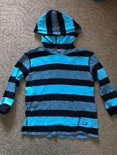 Point Zero Boys S/4 Aqua And Navy Blue Hooded Pullover Shirt Long Sleeve