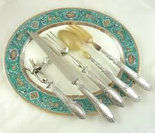 ANTIQUE FRENCH STERLING SILVER SERVING CARVING SET 5pc FLATWARE WITH BONE HOLDER