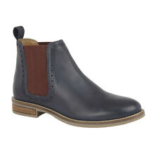 Ladies Leather Ankle Boots Brogue Detail Navy