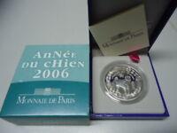 FRANKREICH 2006 - 1/4 Euro in Silber, PP - JAHR DES HUNDES Lunar Chien Dog